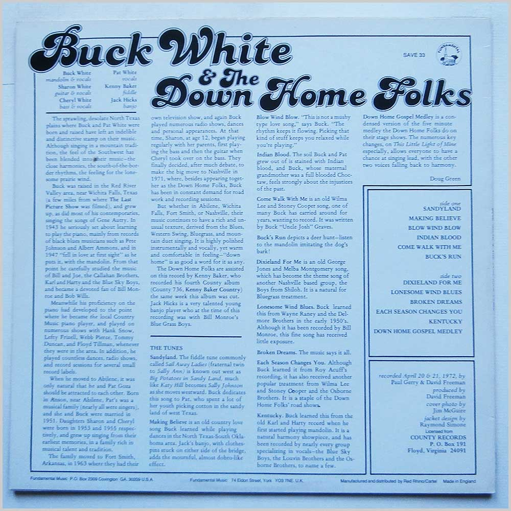 Buck White and the Down Home Folks - Buck White And The Down Home Folks (SAVE 33)