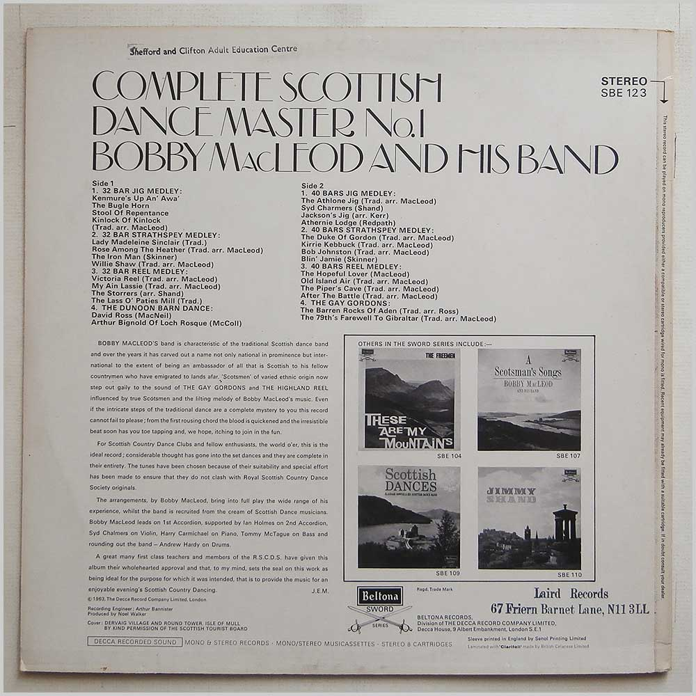 Bobby MacLeod And His Band - Complete Scottish Dance Master No. 1 (SBE 123)