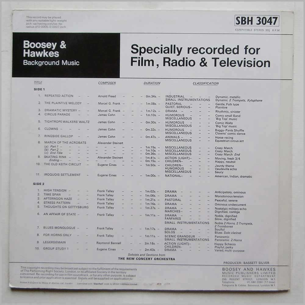 The New Concert Orchestra - Background Music Specially Recorded For Film Radio and Television (SBH 3047)