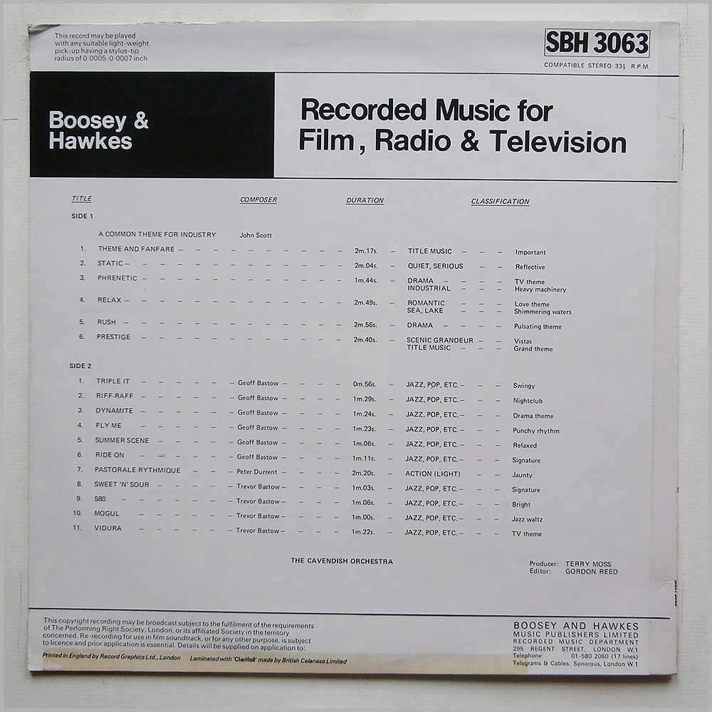 The Cavendish Orchestra - Recorded Music For Film, Radio And Television (SBH 3063)