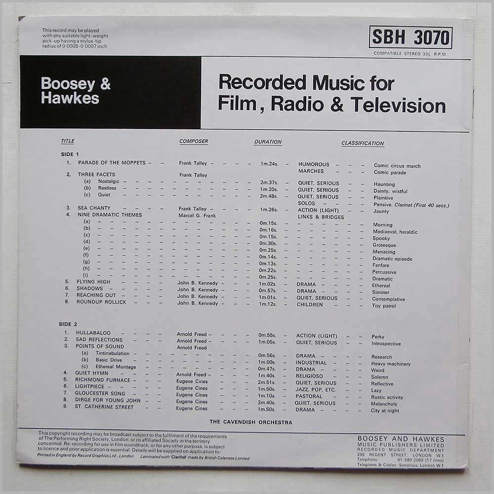 The Cavendish Orchestra - Recorded Music For Film, Radio And Television (SBH 3070)
