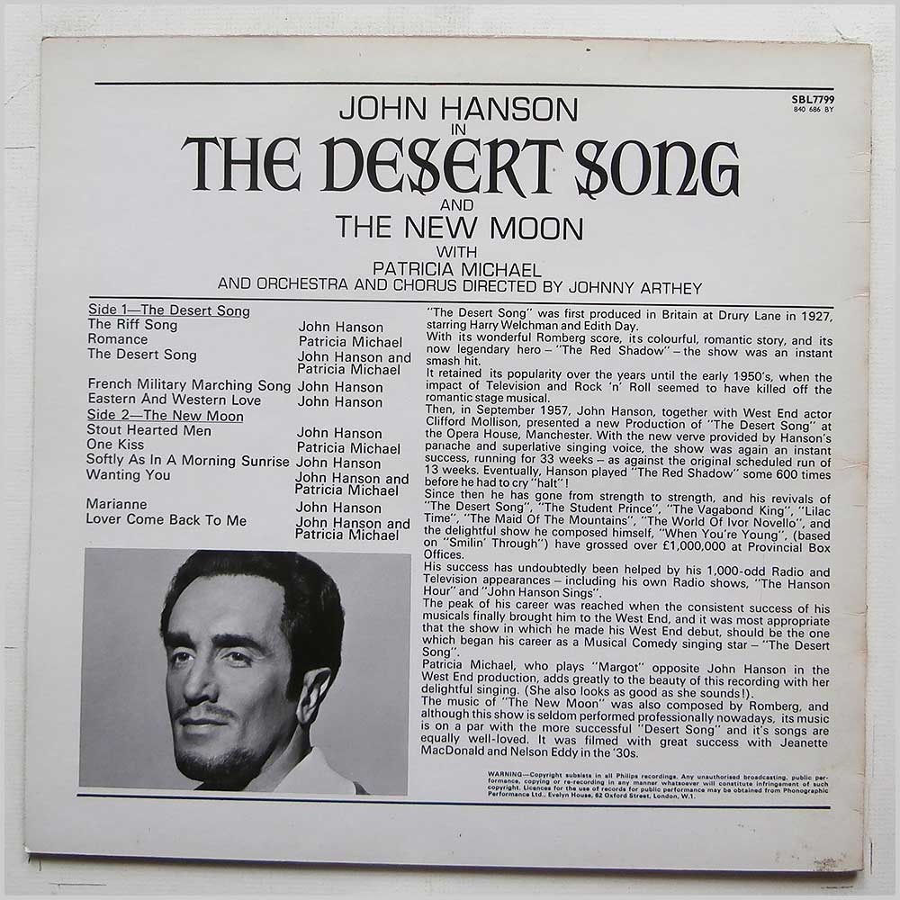 Patricia Michael and His Orchestra - John Hanson In The Desert Song and The New Moon (SBL7799)
