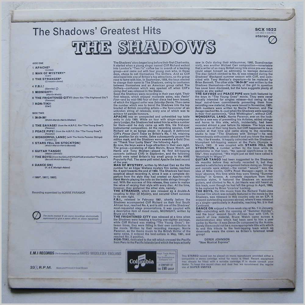 The Shadows - The Shadows' Greatest Hits (SCX 1522)