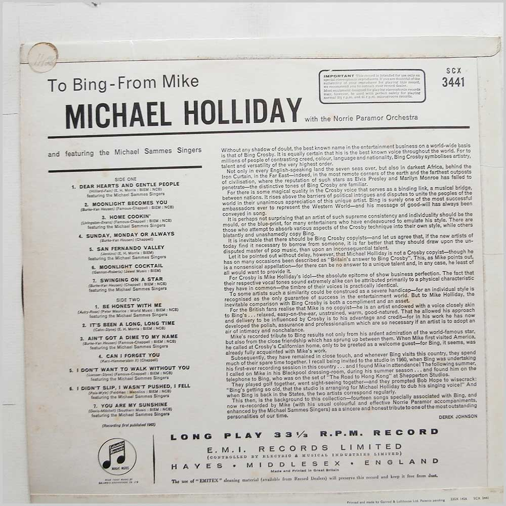 Michael Holliday, Norrie Paramor Orchestra - To Bing From Mike (SCX 3441)