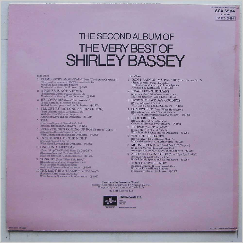Shirley Bassey - The Second Album of The Very Best of Shirley Bassey (SCX 6584)