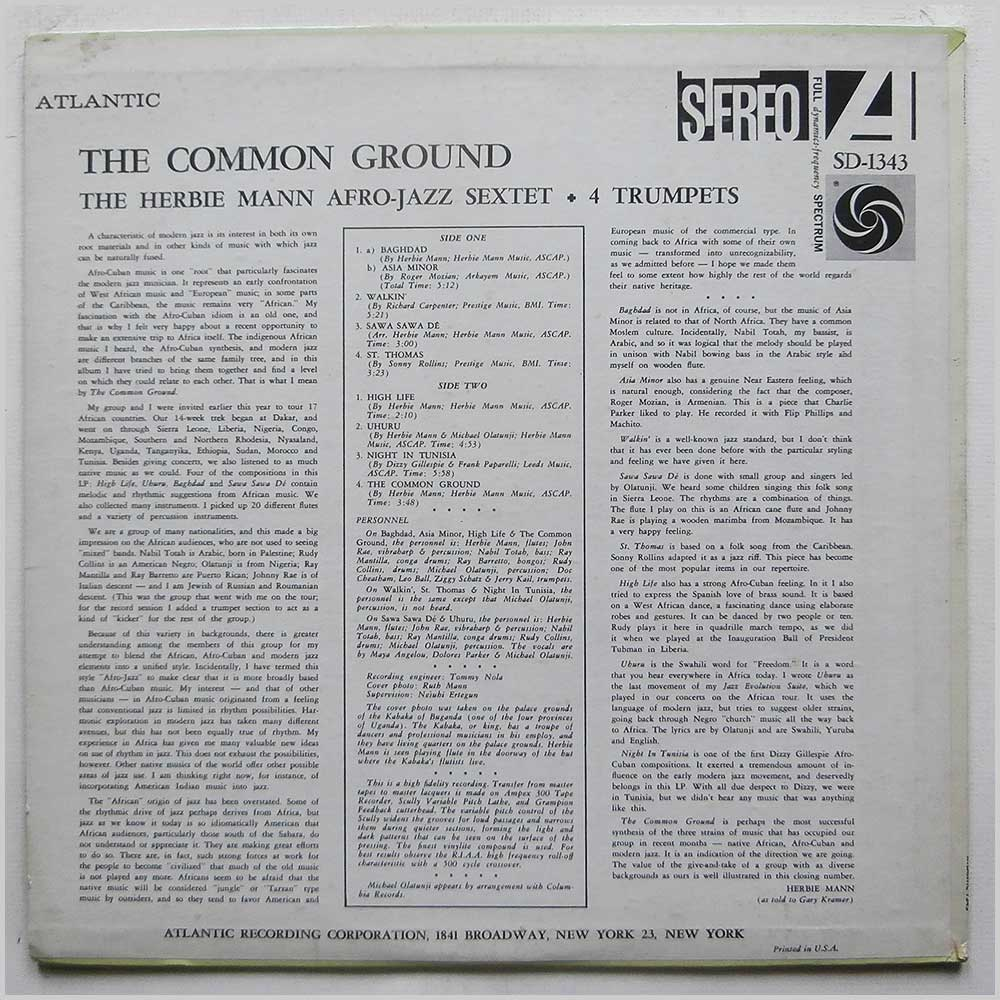 Herbie Mann Afro-Jazz Sextet + Four Trumpets - The Common Ground (SD-1343)