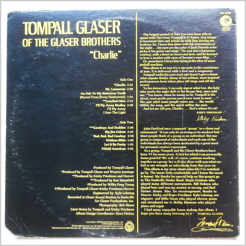 Tompall Glaser of The Glaser Brothers - Charlie (SE-4918)