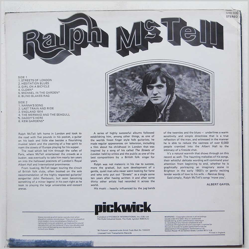 Ralph McTell - Streets Of London (SHM 926)