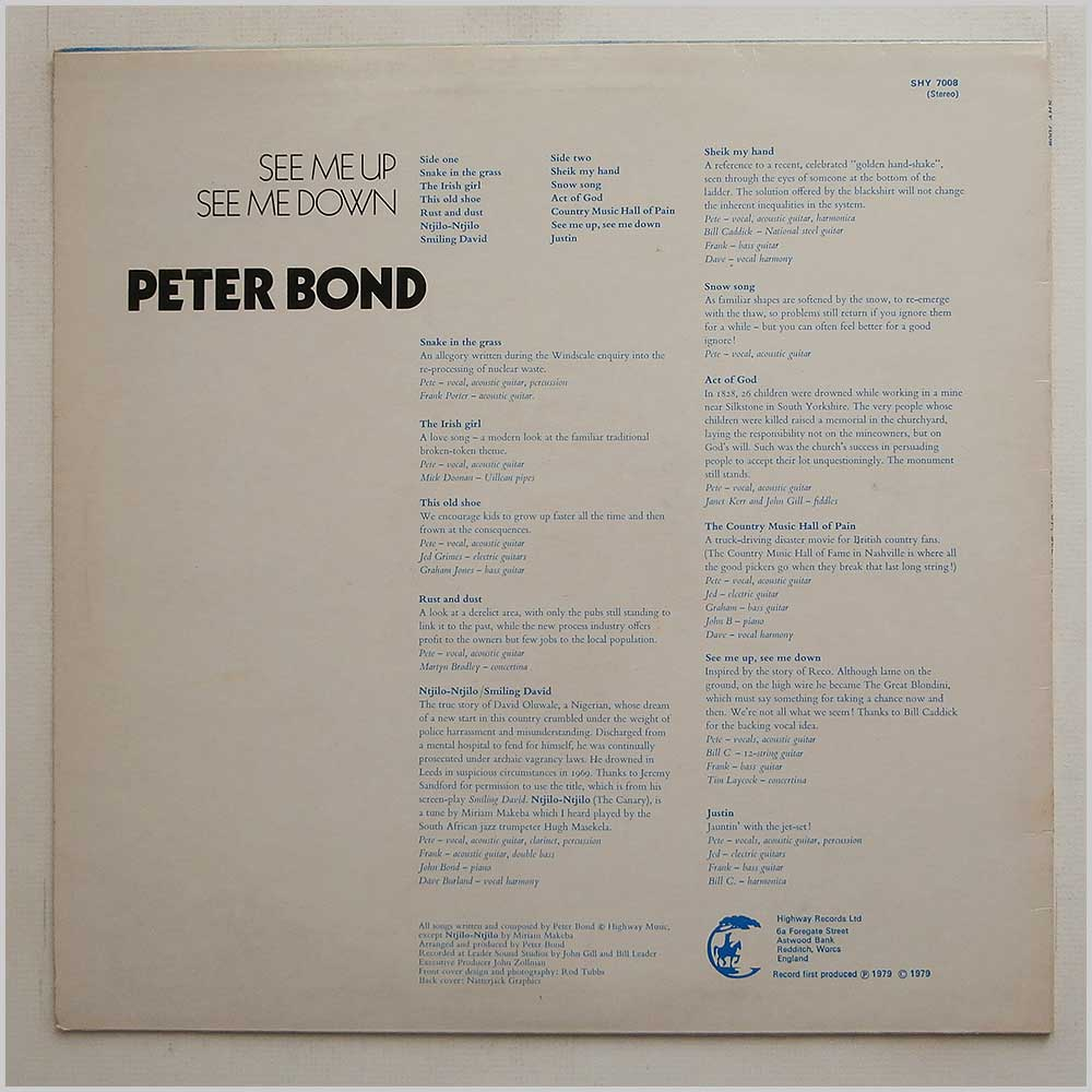 Peter Bond - See Me Up, See Me Down (SHY 7008)