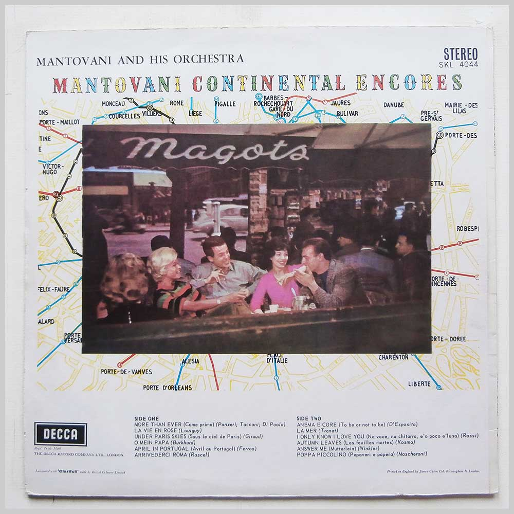 Mantovani and His Orchestra - Continental Encores (SKL 4044)
