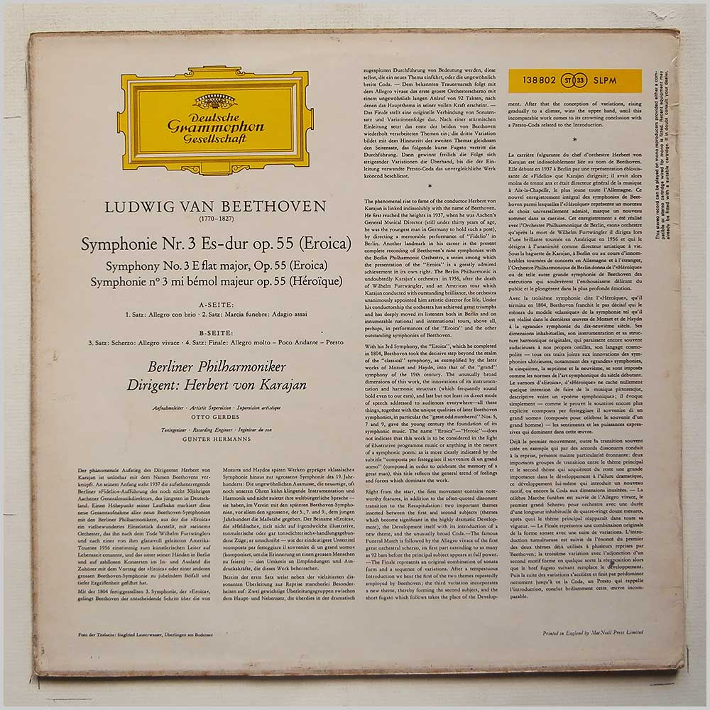 Herbert Von Karajan and The Berlin Philharmonic - Beethoven: Eroica (SLPM  138 802)