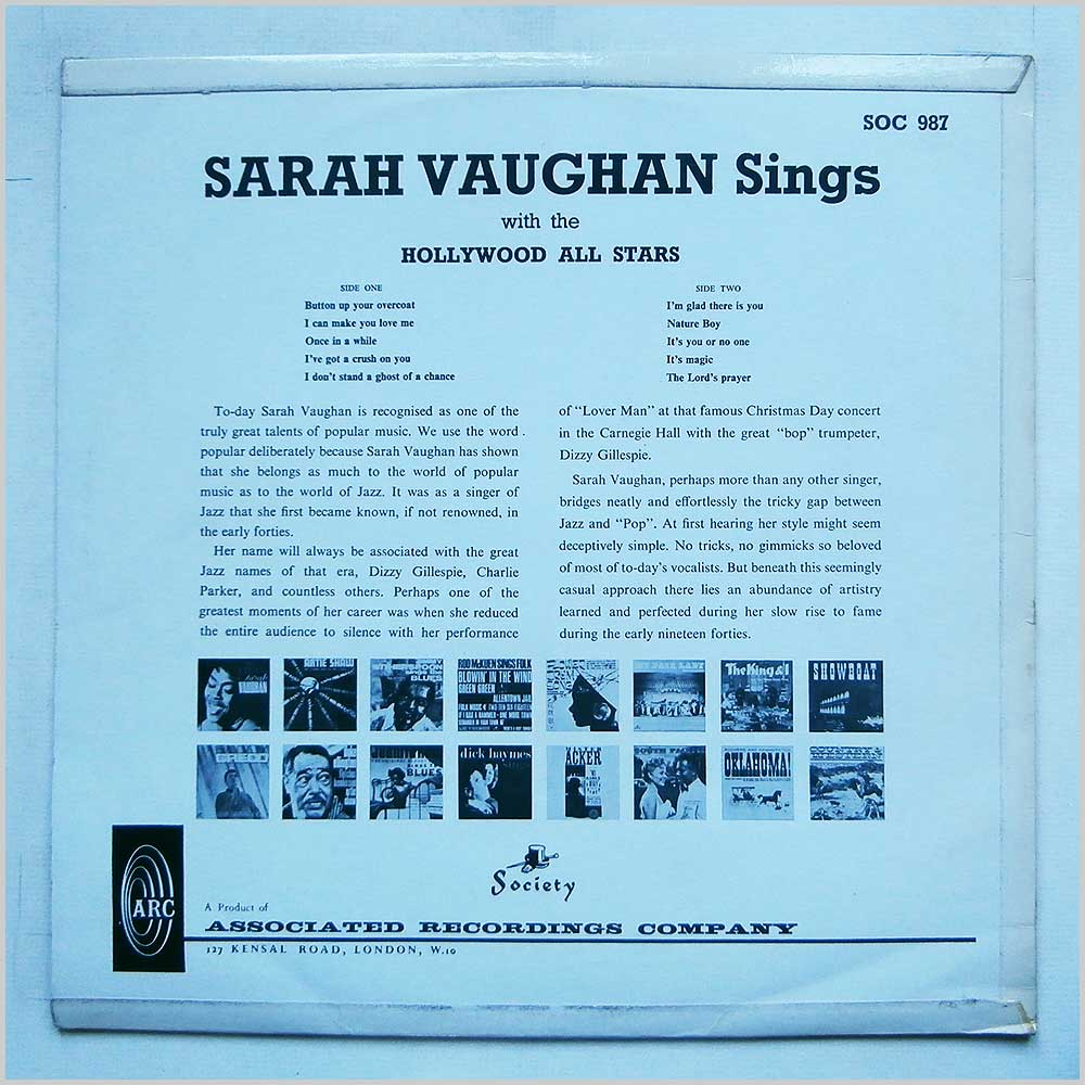 Sarah Vaughan - Sings With The Hollywood All Stars (SOC 987)