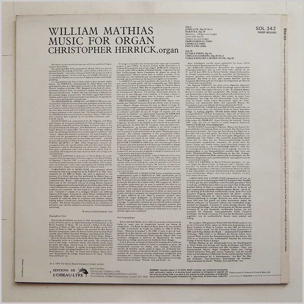 Christopher Herrick - William Mathias: Music For Organ (SOL 342)
