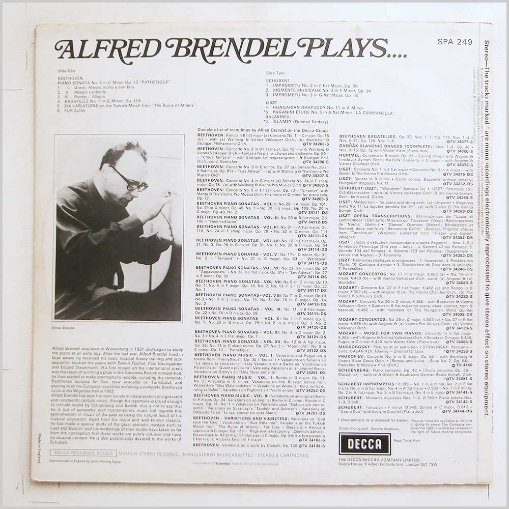 Alfred Brendel - Alfred Brendel Plays (SPA 249)