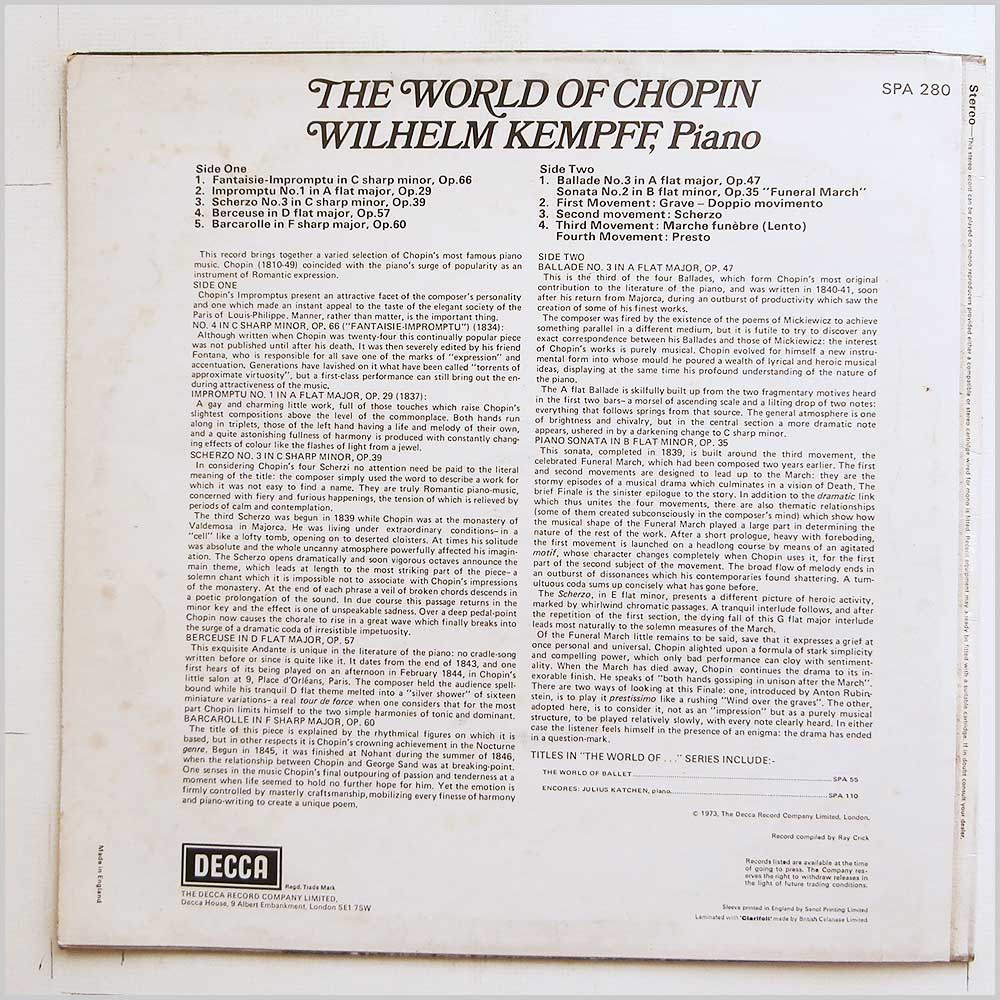 Wilhelm Kempff - The World Of Chopin (SPA 280)