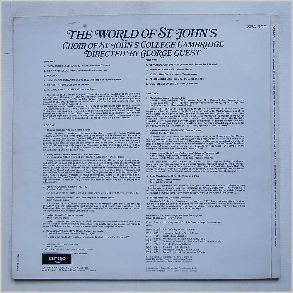 Choir Of St. John's College, Cambridge - The World Of St. John'S (SPA 300)