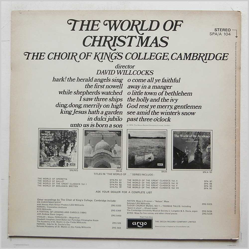 David Willcocks, The Choir Of King's College Cambridge - The World Of Christmas (SPA/A 104)
