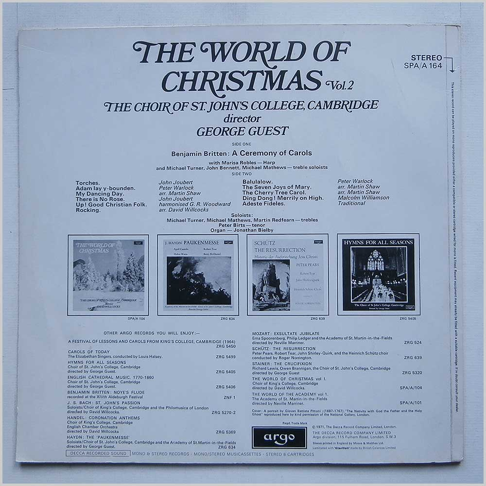 The Choir Of St. Johns College, Cambridge - The World Of Christmas Vol. 2 (SPA/A 164)