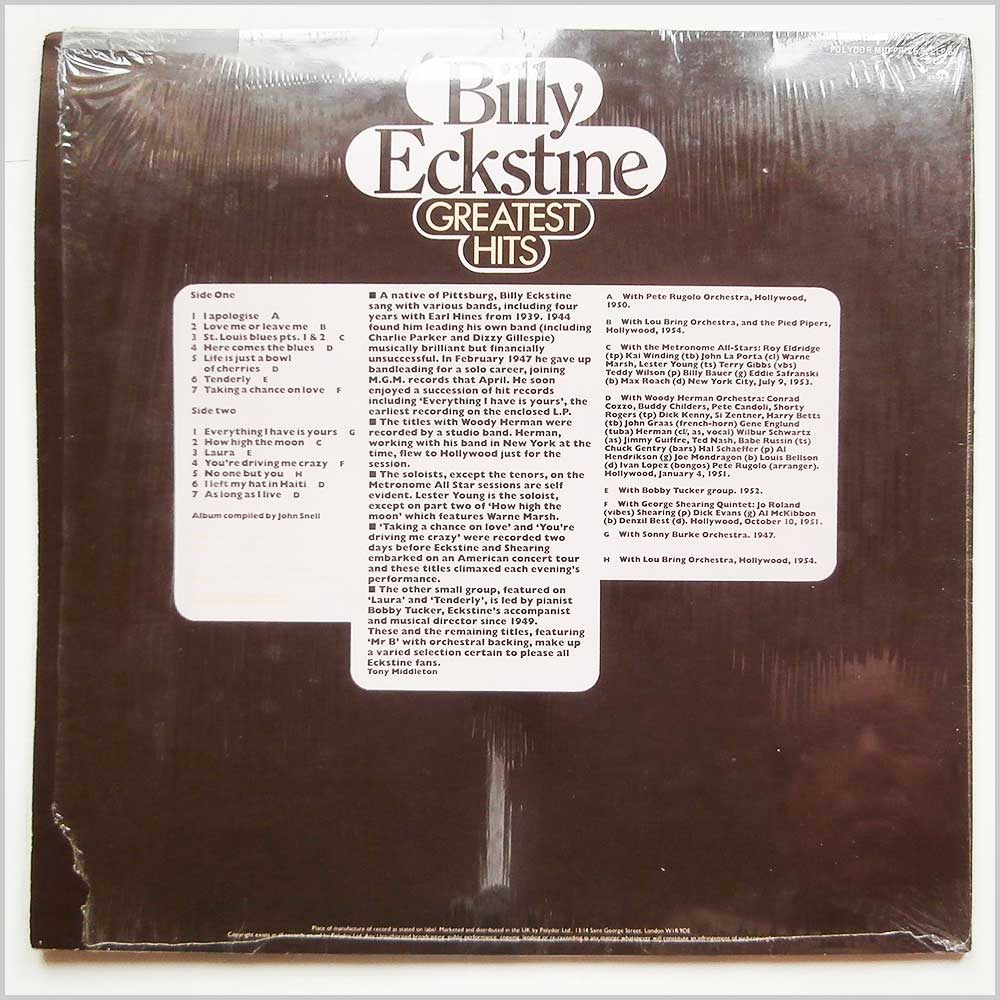 Billy Eckstine - Greatest Hits (SPELP 64)