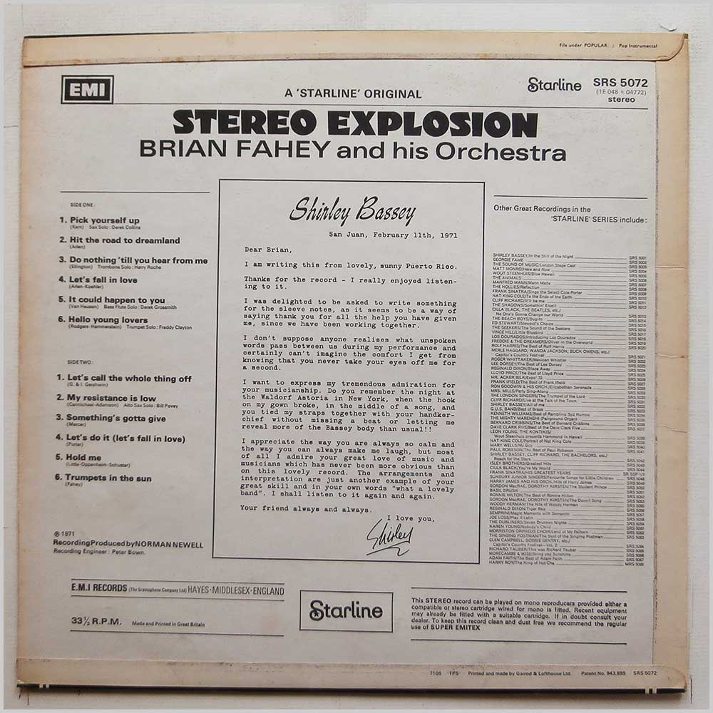 Brian Fahey And His Orchestra - Stereo Explosion (SRS 5072)