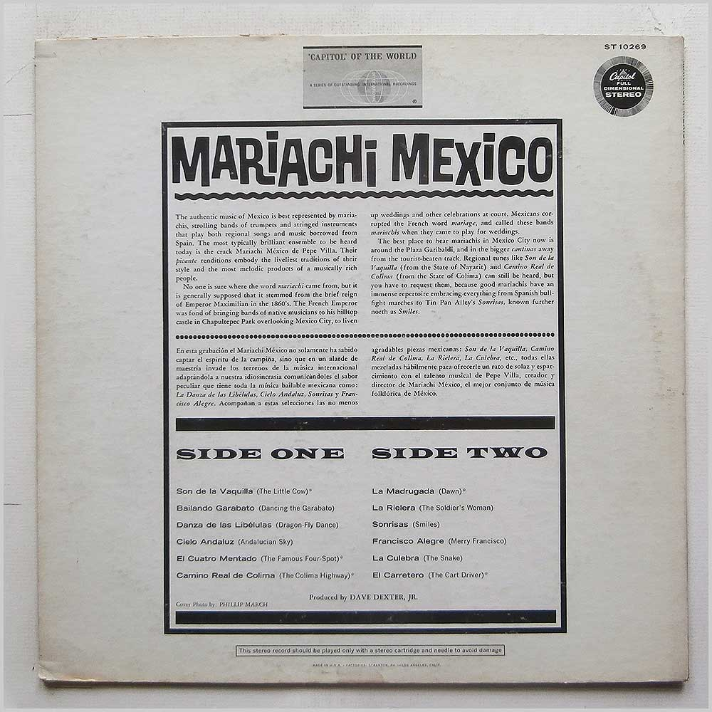 Mariachi Mexico De Pepe Villa - Mariachi Mexico: Swinging South Of The Border Pops (ST 10269)