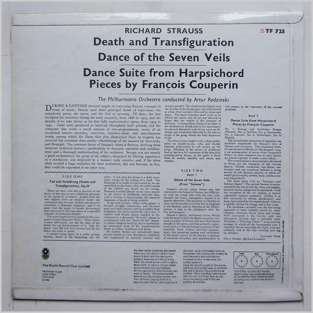 Artur Rodzinski, Philharmonia Orchestra - Richard Strauss: Death And Transfiguration, Dance Of The Seven Veils. Dance Suite From Couperin (STF 723)
