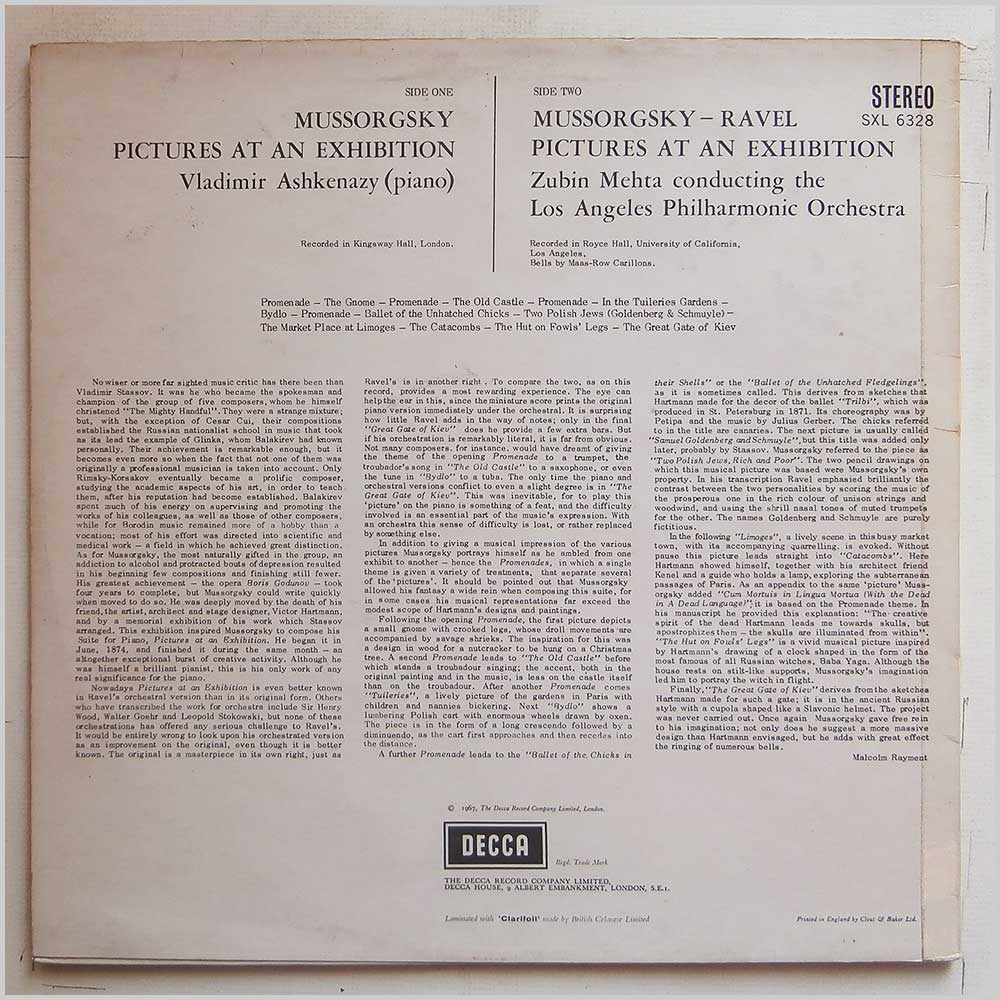 Vadimir Askenazy, Zubi Mehta, Los Angeles Philharmonic - Mussorgsky: Pictures At An Exhibition (SXL 6328)