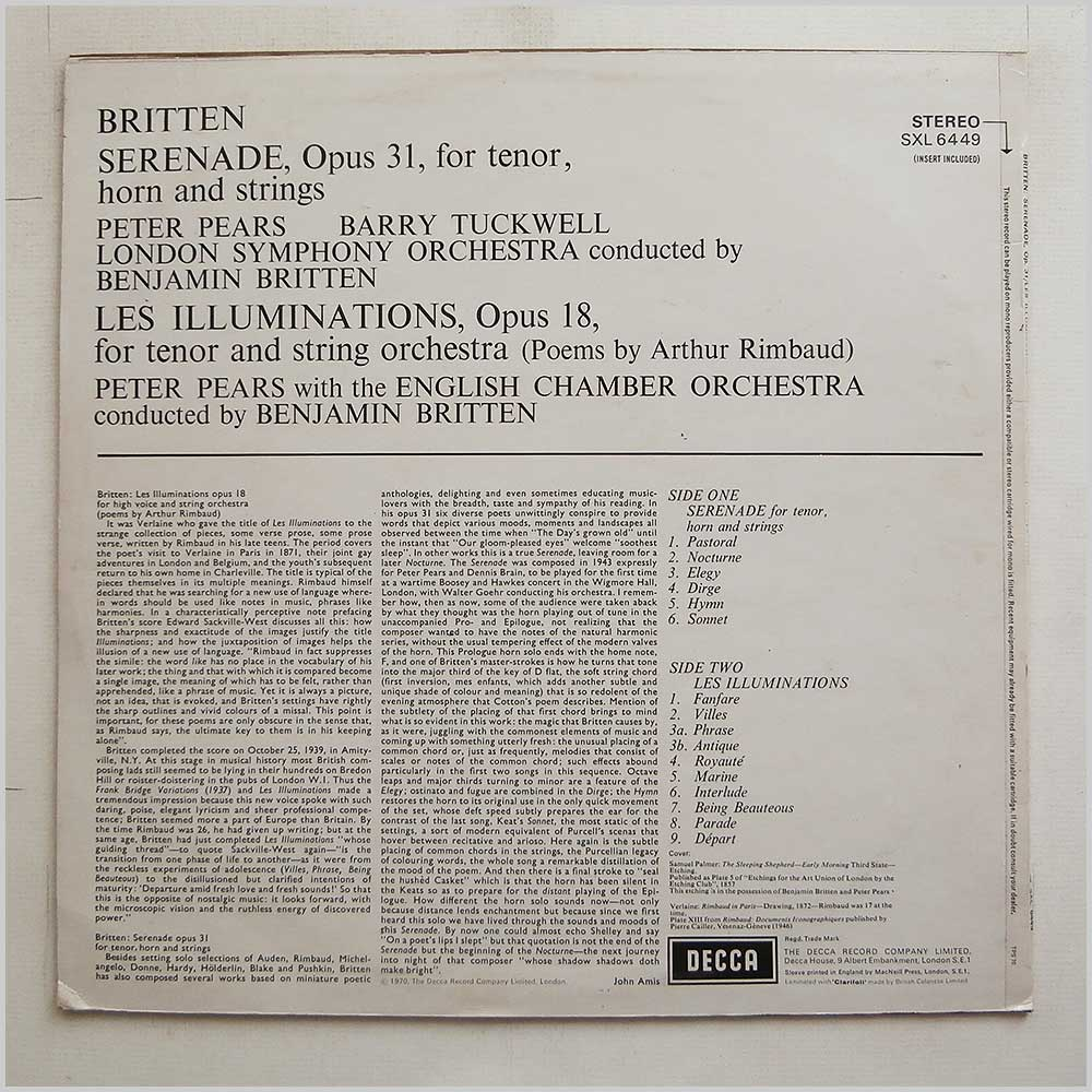 London Symphony Orchestra and English Chamber Orchestra - Benjamin Britten: Serenade For Tenor and Horns (SXL 6449)