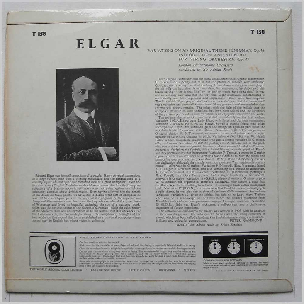 Sir Adrian Boult - Sir Adrian Boult Conducts Elgar's Enigma Variations and Introduction and Allegro For Strings (T 158)