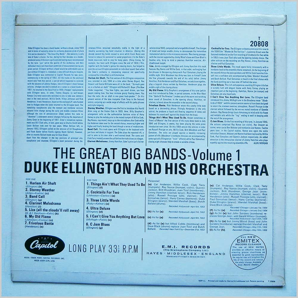 Duke Ellington - The Great Big Bands Vol. 1 (T 20808)
