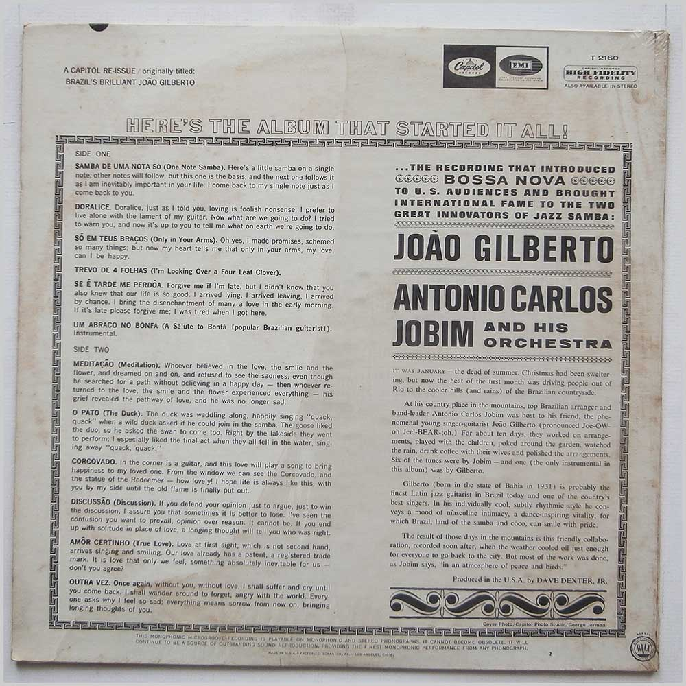 Gilberto and Jobim - Brazil's Greatest Guitarist and Singer (T 2160)
