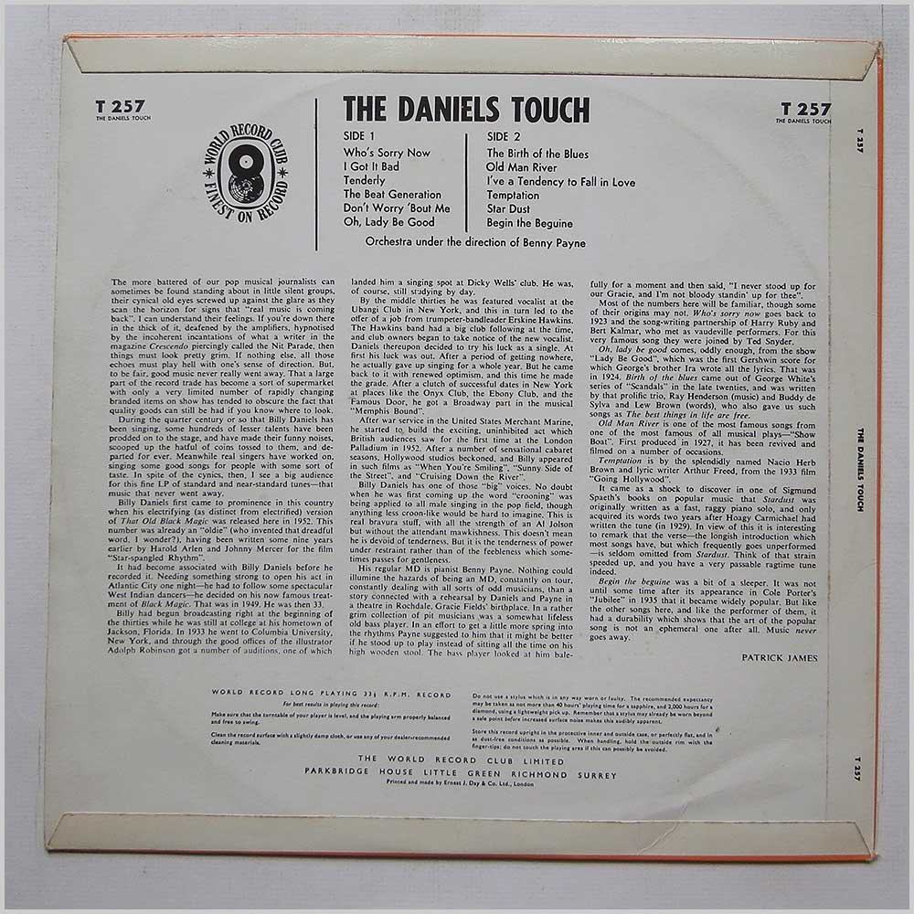 Billy Daniels - The Daniels Touch (T 257)