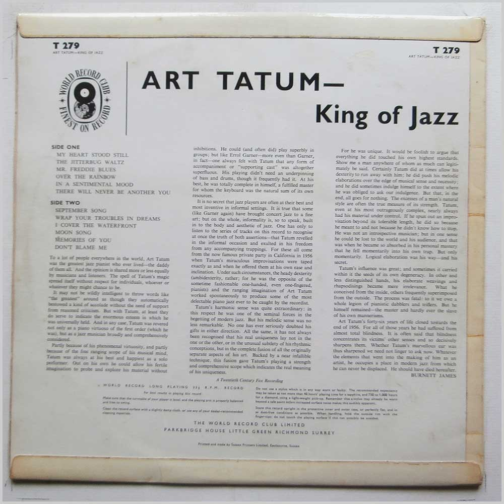 Art Tatum - King Of Jazz (T 279)