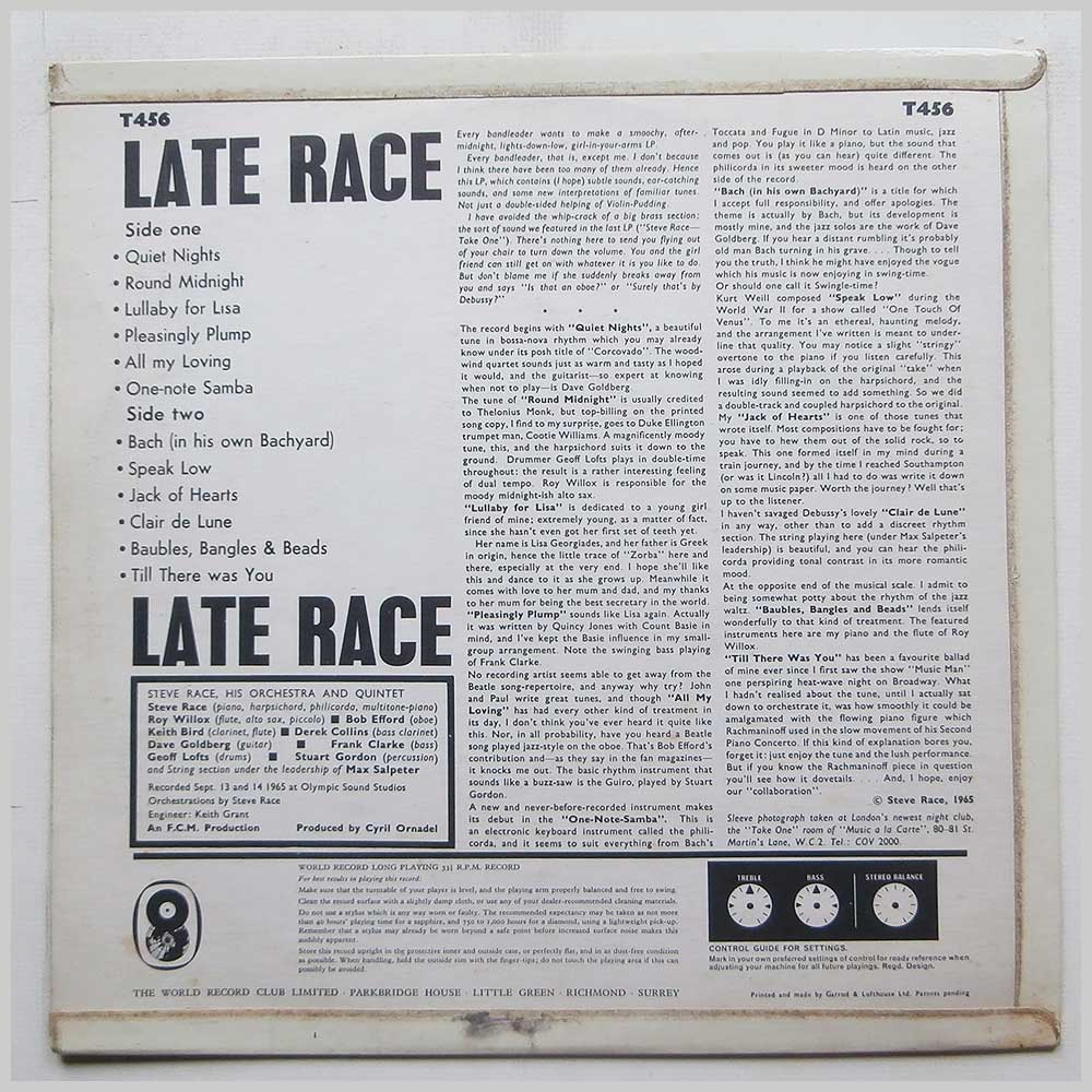 Steve Race and His Late Night Specials - Late Race (T 456)
