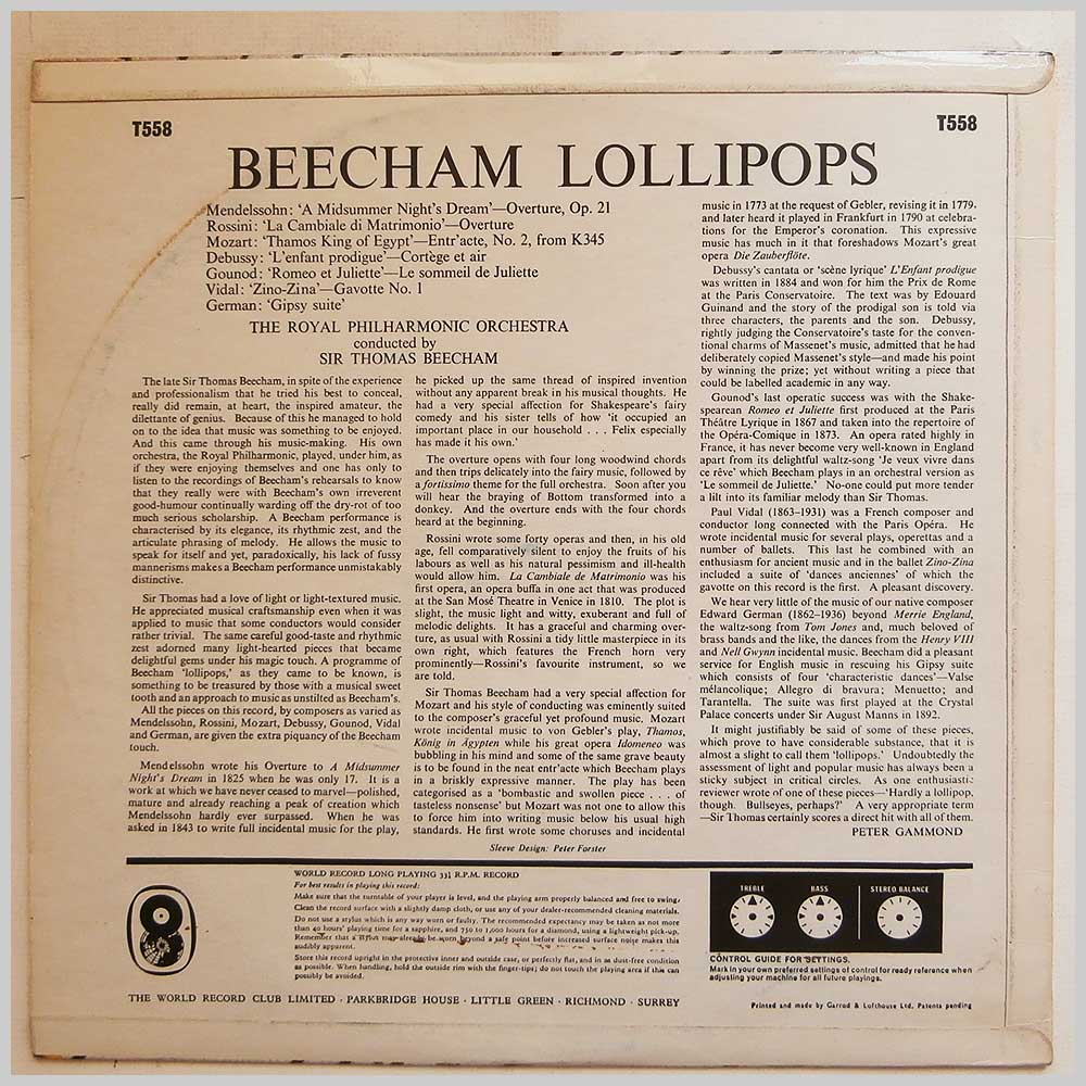 Sir Thomas Beecham - Beecham Lollipops (T558)