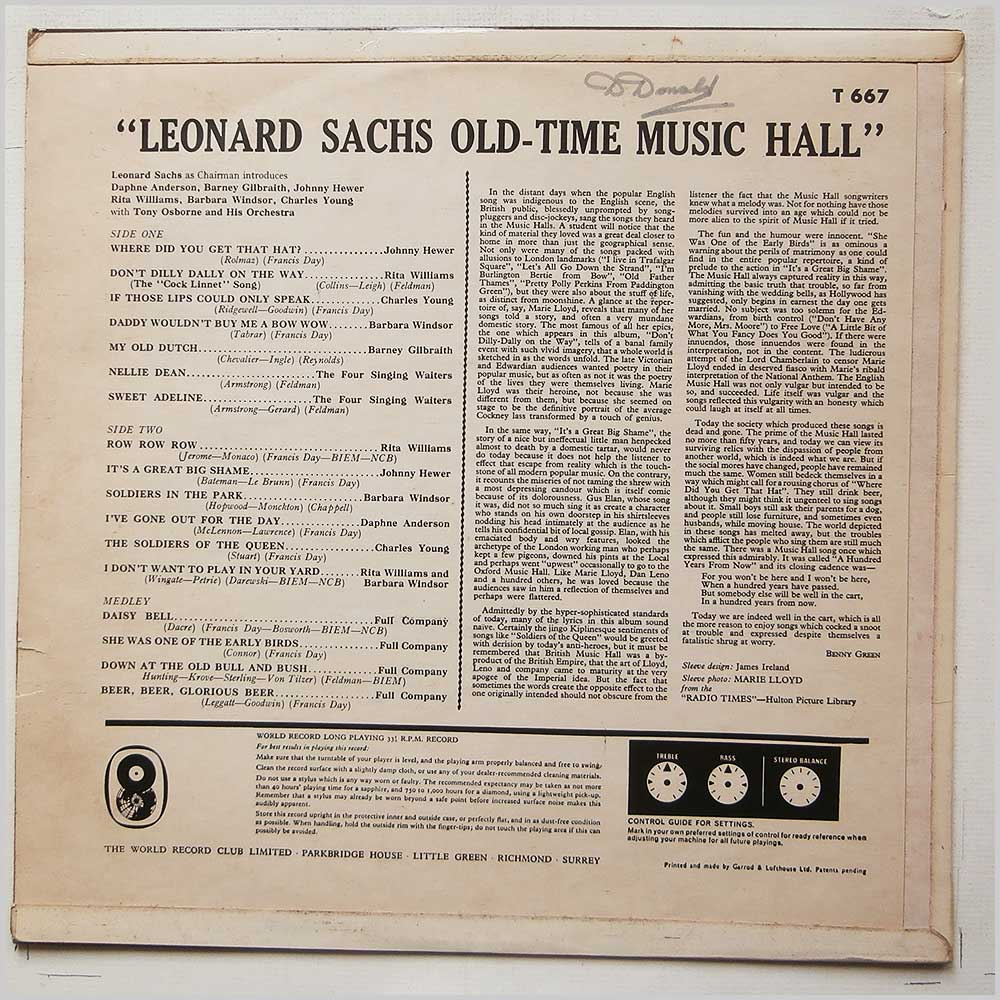 Various - The Old-Time Music Hall introduced by Leonard Sachs (T 667)