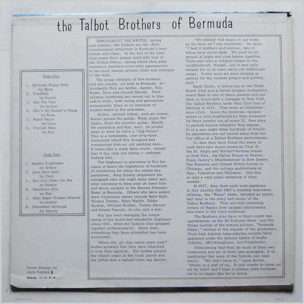 The Talbot Brothers Of Bermuda - The Talbot Brothers Of Bermuda Volume 1 (Talman 1)