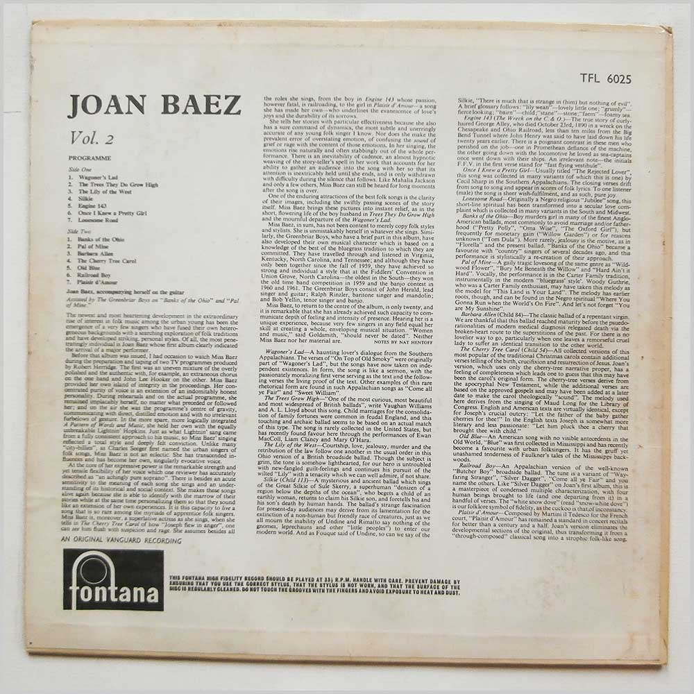 Joan Baez - Volume Two (TFL 6025)