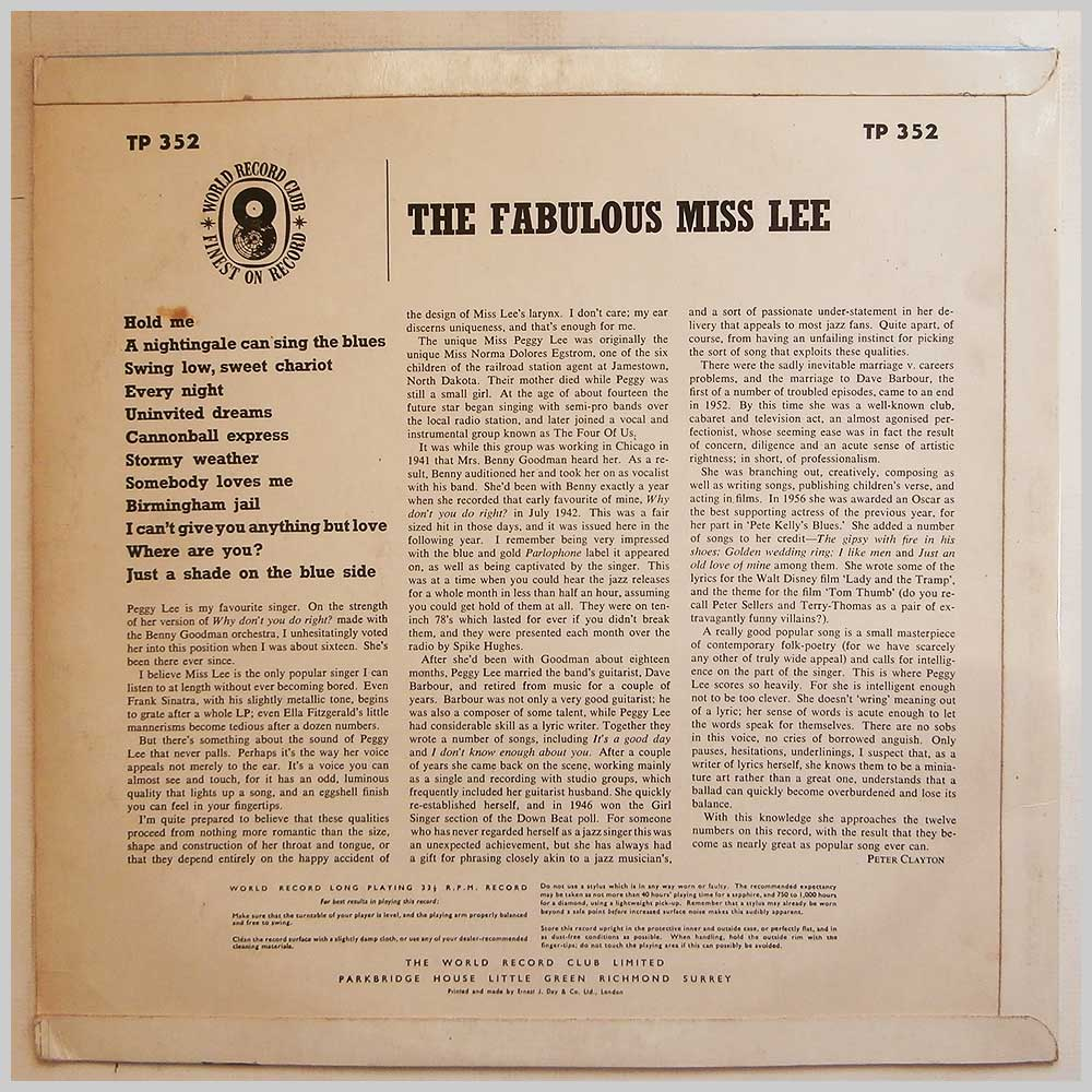Peggy Lee - The Fabulous Miss Lee (TP 352)
