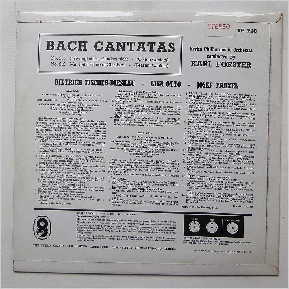 Karl Forster - Bach Cantatas No 211 and No 212 (TP 720)