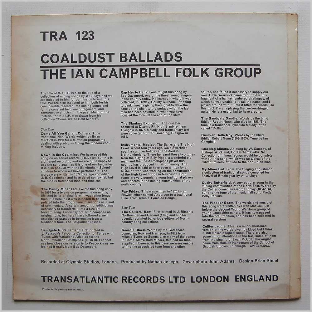 The Ian Campbell Folk Group - Coaldust Ballads (TRA 123)