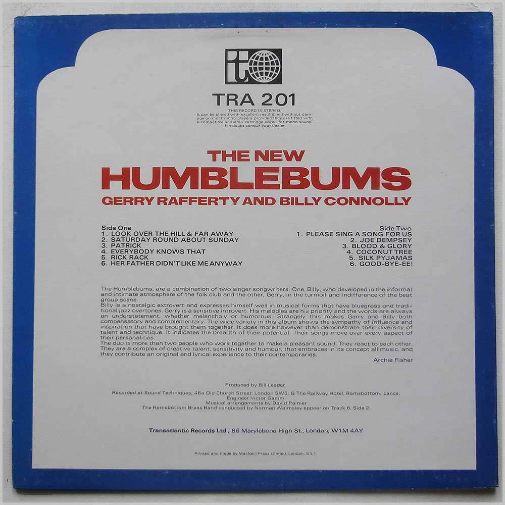 The Humblebums - The New Humblebums (TRA 201)