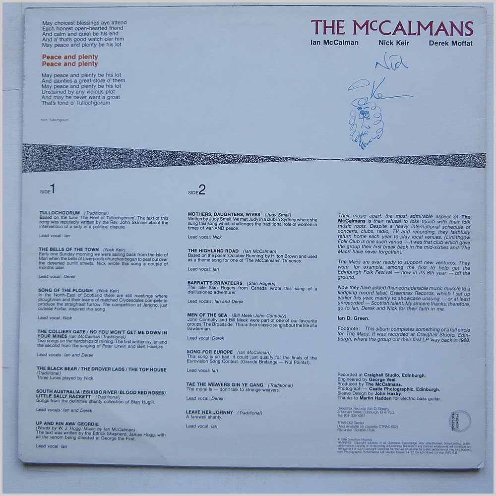 The McCalmans - Peace And Plenty (TRAX-002)