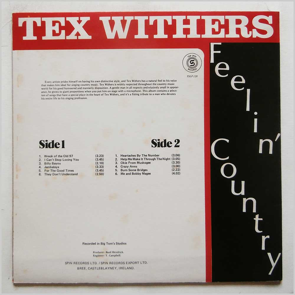 Tex Withers - Feelin' Country (TSLP 120)