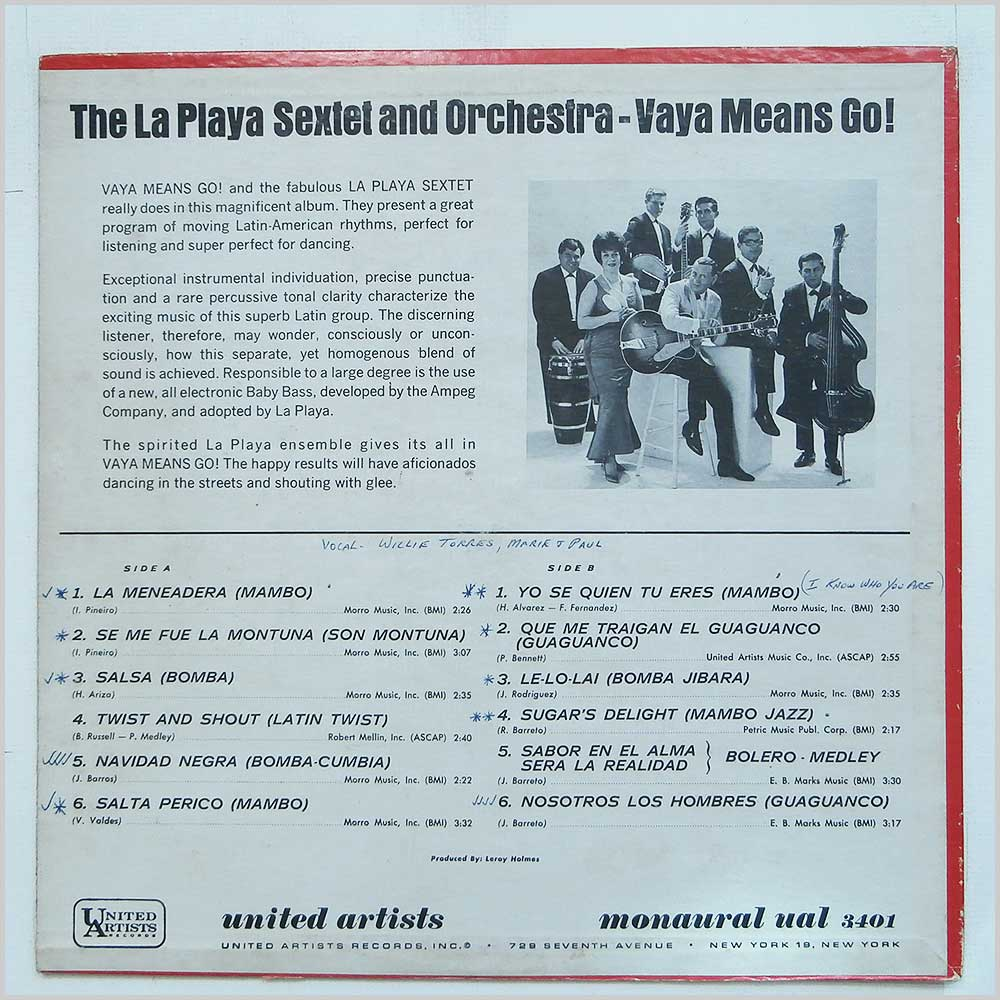 The La Playa Sextet - Vaya Means Go (UAL 3401)