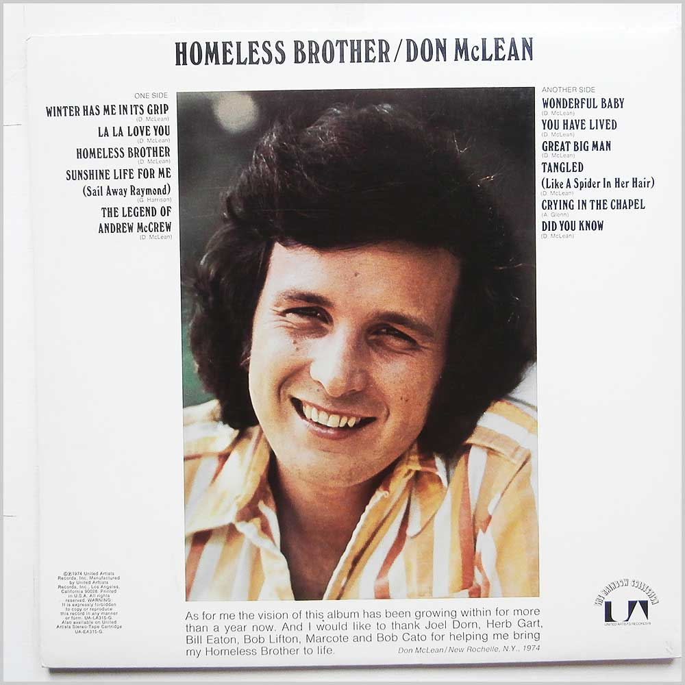 Don McLean - Homeless Brother (UA-LA315-G)