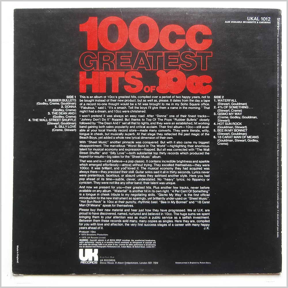 10cc - Greatest Hits Of 10cc (UKAL 1012)