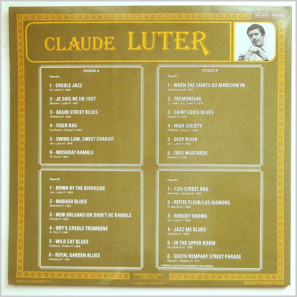 Claude Luter - Le Double Disque D'Or De Claude Luter (VG 304 416011)