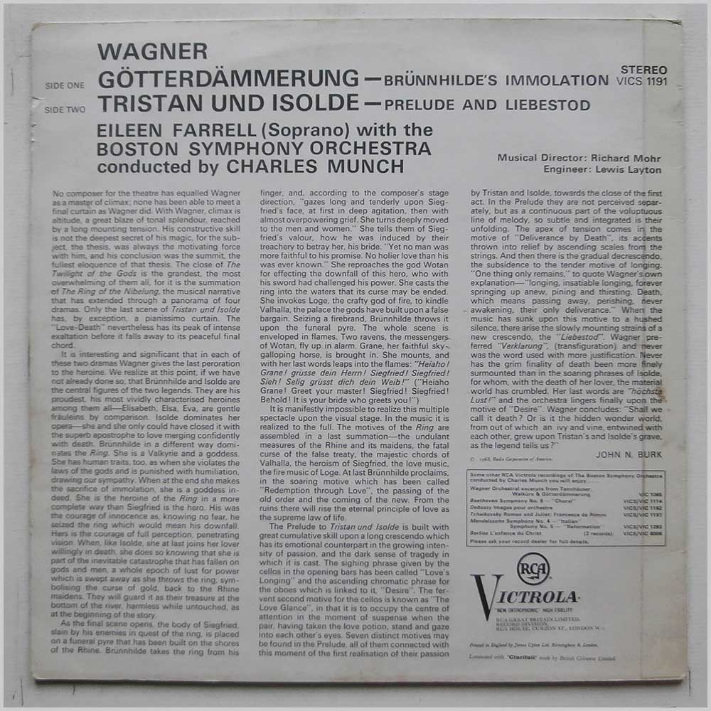 Eileen Farrell, Boston Symphony - Wagner: Excerpts From Goterdammerung and Tristan Und Isolde (VICS 1191)