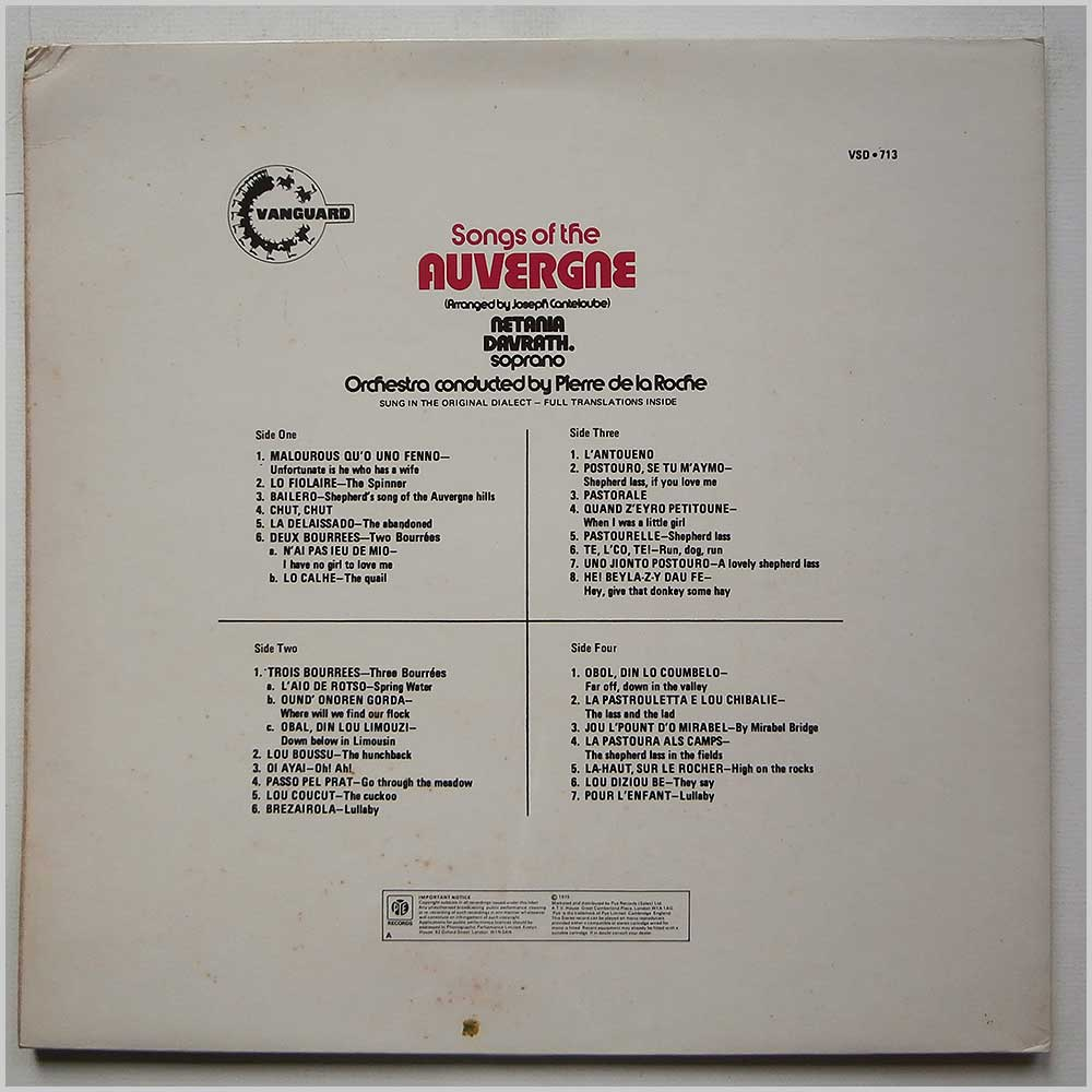 Netania Davraith - Songs Of The Auvergine (VSD 713)